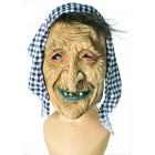 Hexenmaske mit Kopftuch schwarz/weiß